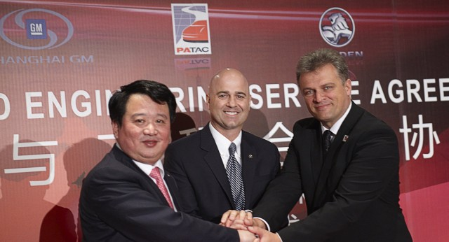 From left to right, the bosses of Shanghai GM, Holden and PATAC