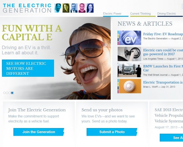Front page of The Electric Generation website
