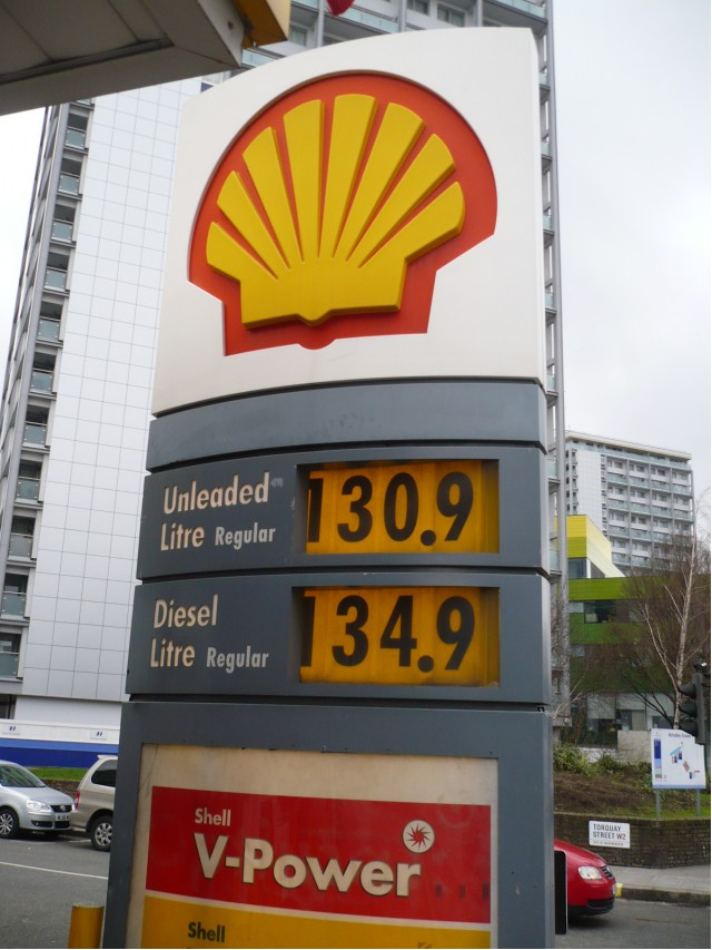Fuel prices in London, shown in pence per liter, February 2011