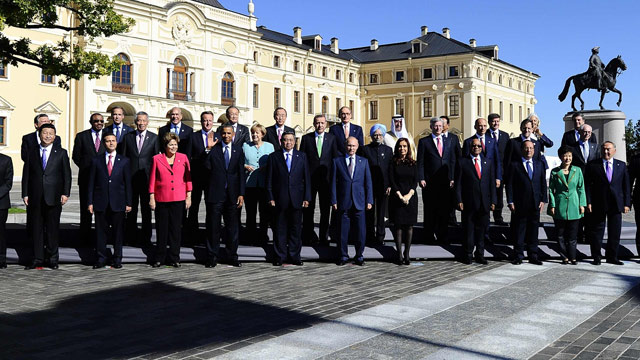 G-20 leaders in St. Petersburg. [Photo by The Guardian]