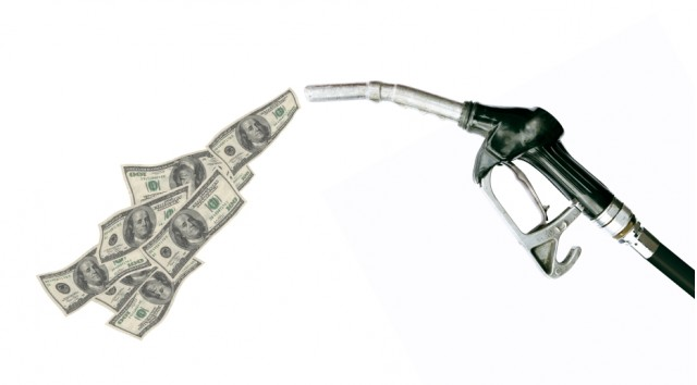 Gas pump with dollars