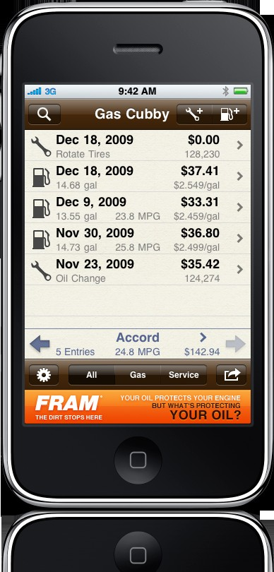GasCubby iPhone app by AppCubby