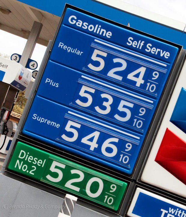 Gasoline prices in California, August 2012 [photo: Brenda Priddy]