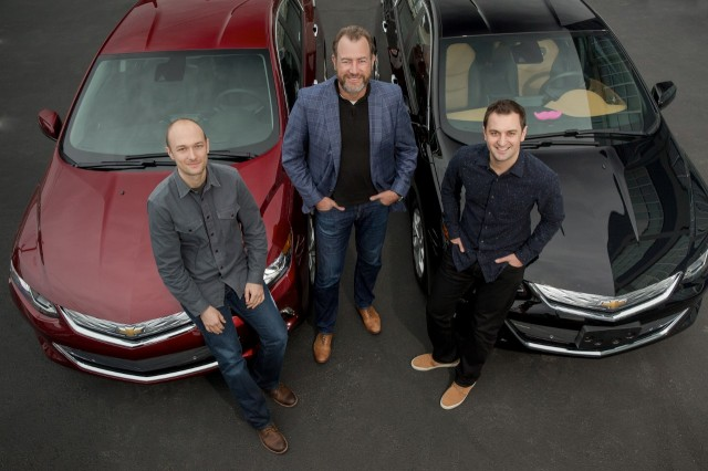 General Motors' Dan Ammann (center) with Lyft's John Zimmer (right) and Logan Green (left)