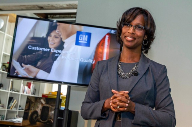 General Motors' Vice President for Global Quality and U.S. Customer Experience, Alicia Boler-Davis, addresses the media Wednesday, September 19, 2012 in Royal Oak, Michigan. In an industry first, GM has combined its Product Quality and Customer Experience organizations under one leader, in order to drive top performance in customer experience and product quality. (Photo by Jeffrey Sauger for General Motors)