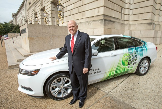 GM's Dan Akerson with the 2015 Chevrolet CNG-Capable, Bi-Fuel Impala