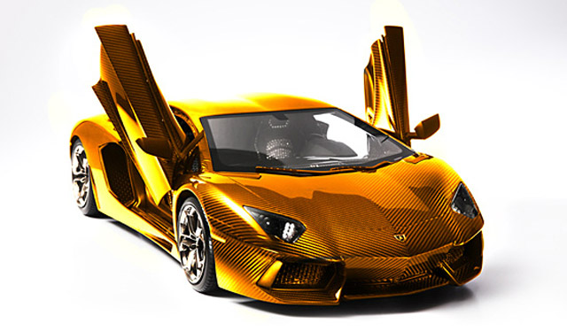 Gold, platinum and diamond encrusted Lamborghini Aventador LP 700-4 model