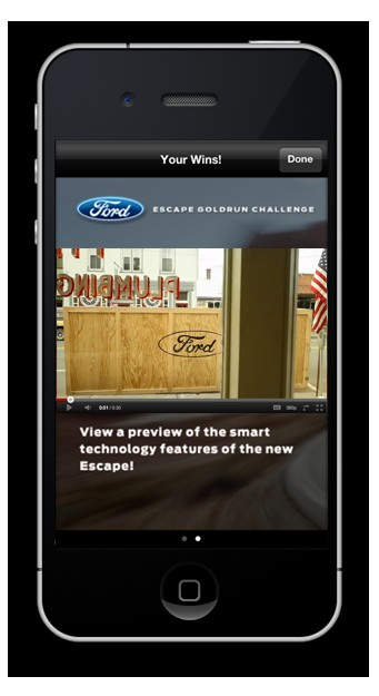 GoldRun iPhone App 2013 Ford Escape