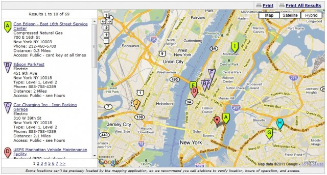 Google and DOE map of alternative fuel locations