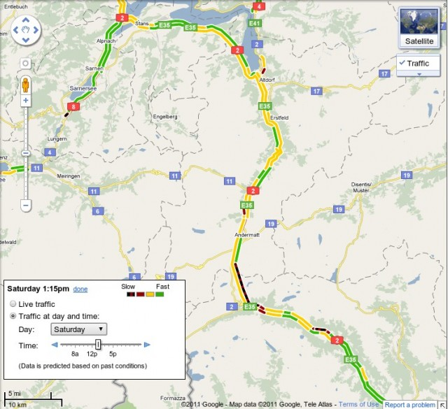 Google Maps with traffic info for Switzerland's Gotthard tunnel