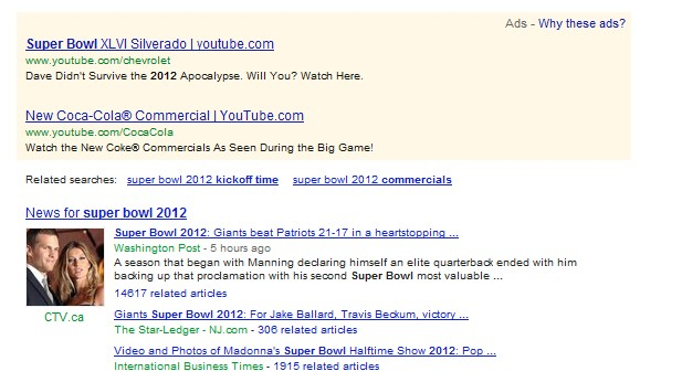 Google search results for 'Super Bowl 2012' on February 6, 2012