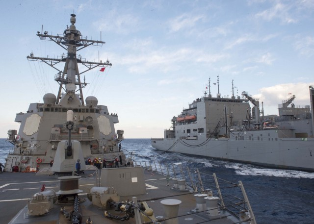 Guided-missile destroyer USS Bulkeley refuels at sea [Image: U.S. Navy via Flickr]