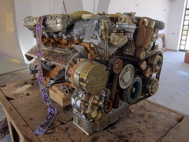Hand-carved Mercedes-Benz V12 engine