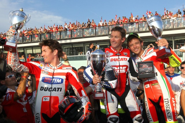 Hayden, Bayliss and Rossi celebrate - Ducati photo