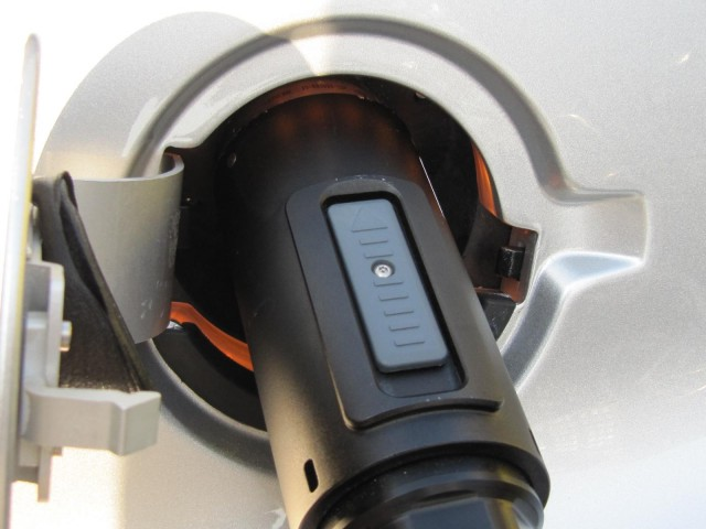 Home-made J-1772 adaptor for Tesla Roadster charging cord, built and used by Michael Thwaite