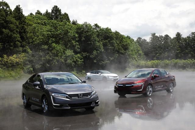 Honda Clarity lineup at Honda R&D Center, Tochigi, Japan, June 2017