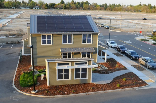 Photovoltaic solar panels on roof of Honda Smart Home at UC-Davis, California