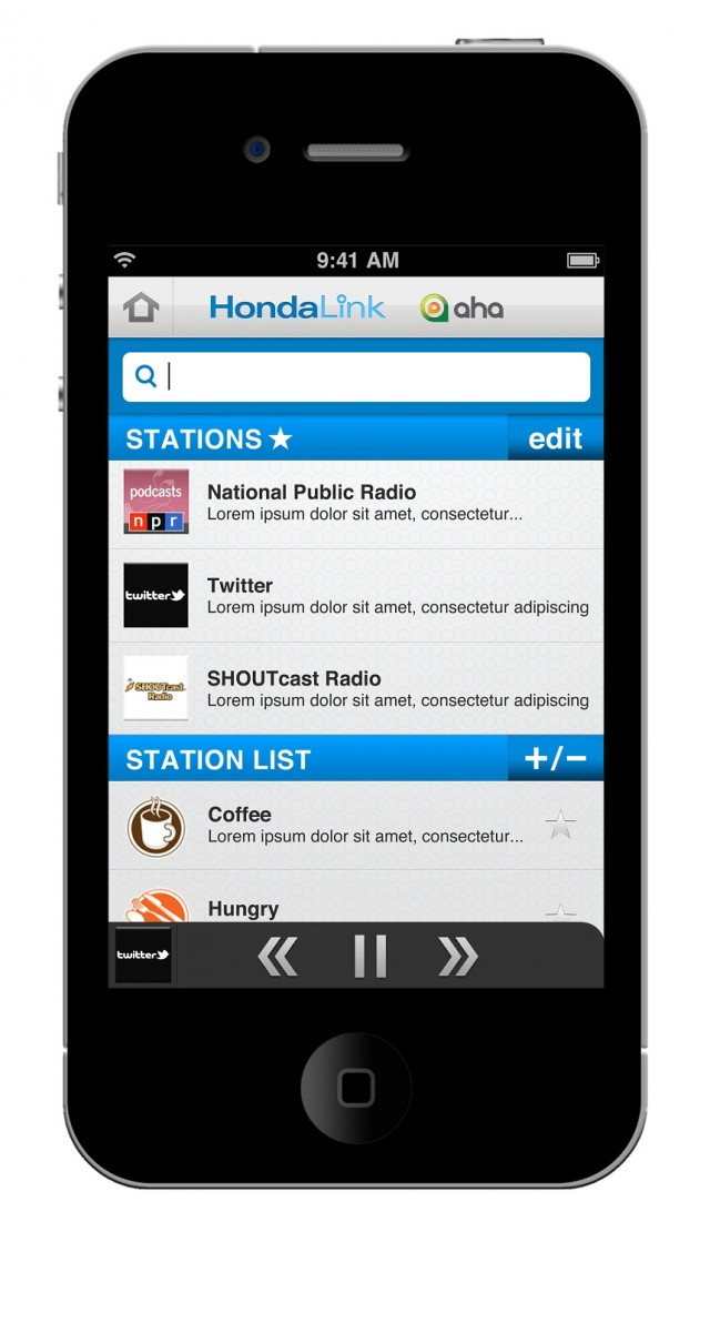 HondaLink app - list of radio stations
