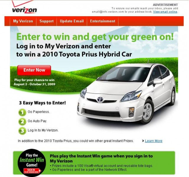 hybrid car green promotion from Verizon