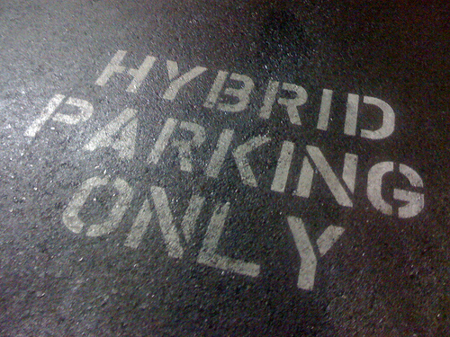 Hybrid parking spot, by Flickr user rscottjones