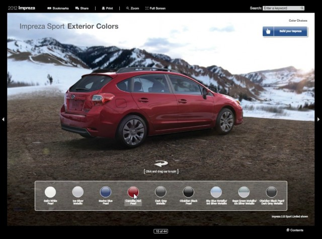 Interactive brochure for the 2012 Subaru Impreza