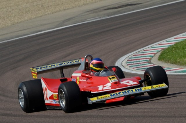 Jacques Villeneuve drives his father's 1979 Ferrari 312 T4 at Fiorano