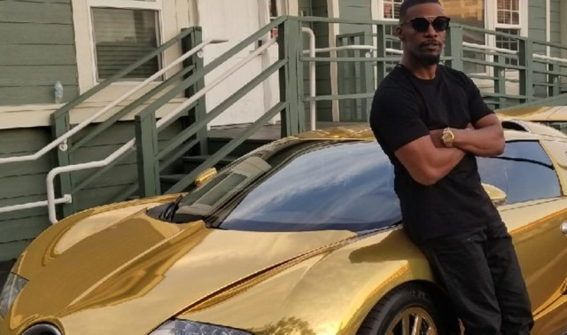 Jamie Foxx and his golden Bugatti Veyron