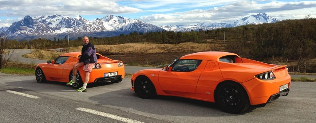 Jens Kratholm with two of his six Tesla Roadsters (via the Tesla Motors blog)