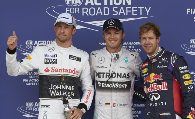 Jenson Button, Nico Rosberg and Sebastian Vettel