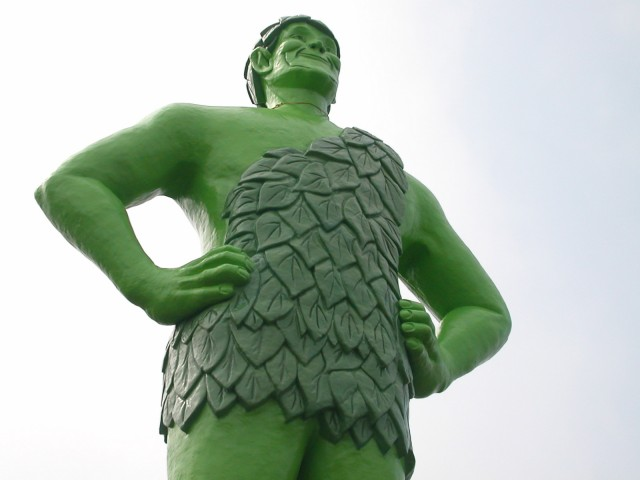 Jolly green giant statue in Blue Earth, MN