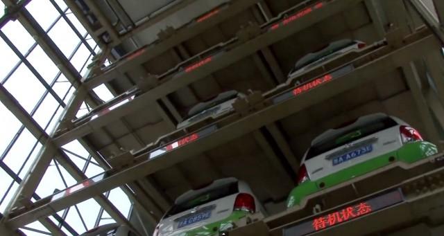 Kandi electric car vending machine in China (Image: Aaron Rockett, video screen grab)