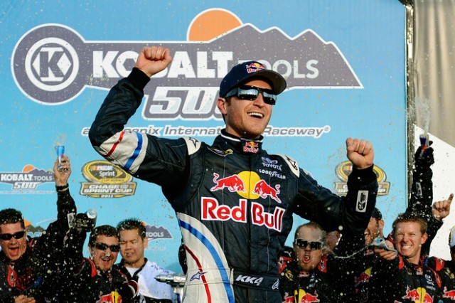 Kasey Kahne celebrates his win at Phoenix International Raceway. Image via NASCAR.