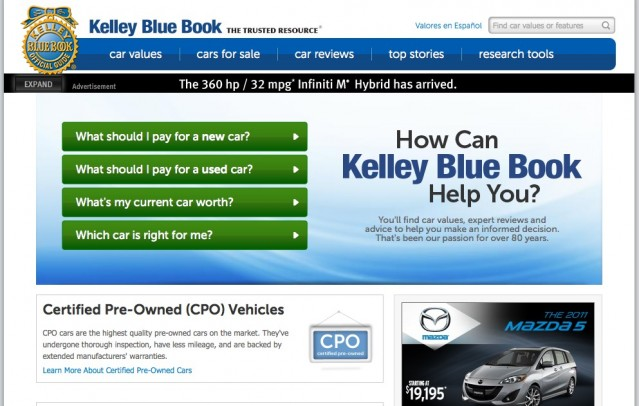 kelley blue book revises relaunches its web home. Black Bedroom Furniture Sets. Home Design Ideas