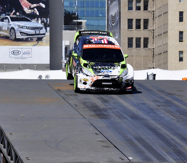 Ken Block's Ford Fiesta barely clears the ramp - Anne Proffit photo