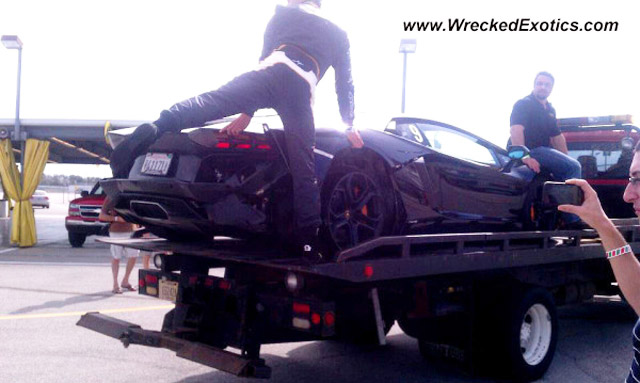 Lamborghini Aventador LP 700-4 with damage from blown tire