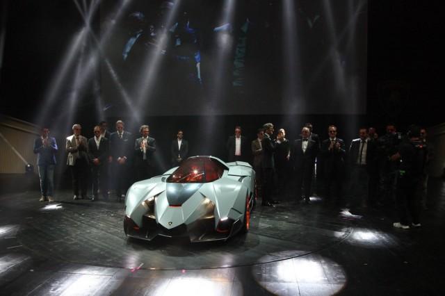 Lamborghini Egoista reveal  -  with Stephan Winkelmann, Walter De Silva, and VW design team