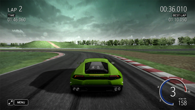 Lamborghini Huracán driving simulator screencap.