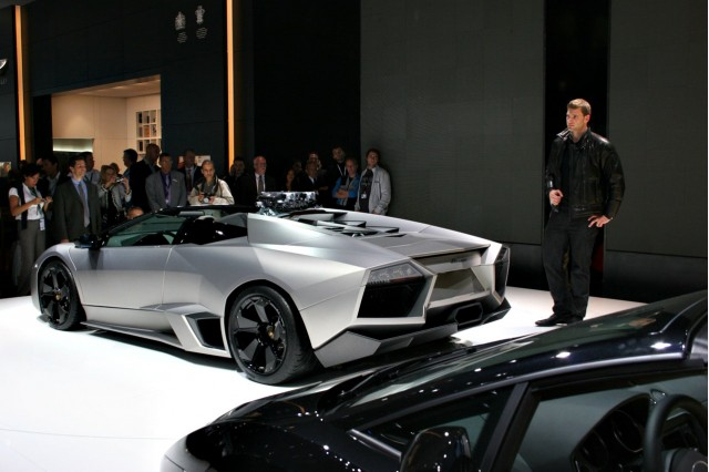 The 2009 Lamborghini Reventon Roadster at the 2009 Frankfurt show: fashion show included gratis.