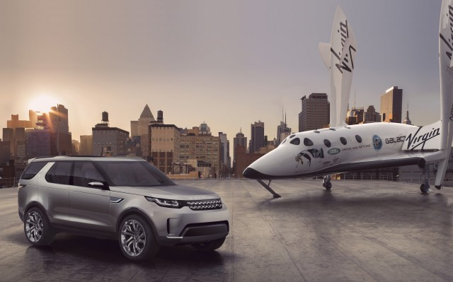 Land Rover Defender Vision Concept and Virgin Galactic SpaceShipTwo replica