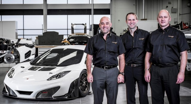 (Left to right) Ian Morgan, Andrew Bailey and Tim White join McLaren GT
