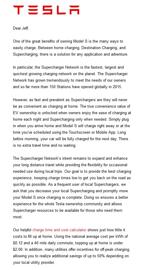 Letter from Tesla Motors to Model S owner regarding local Supercharger usage, August 2015