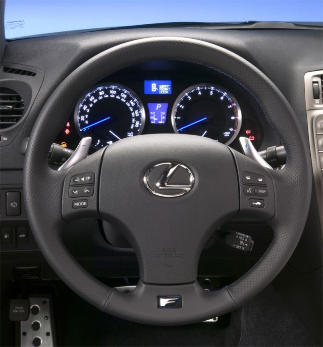 The IS-F's steering wheel, complete with paddle shifters, is comfortable and offers good feedback