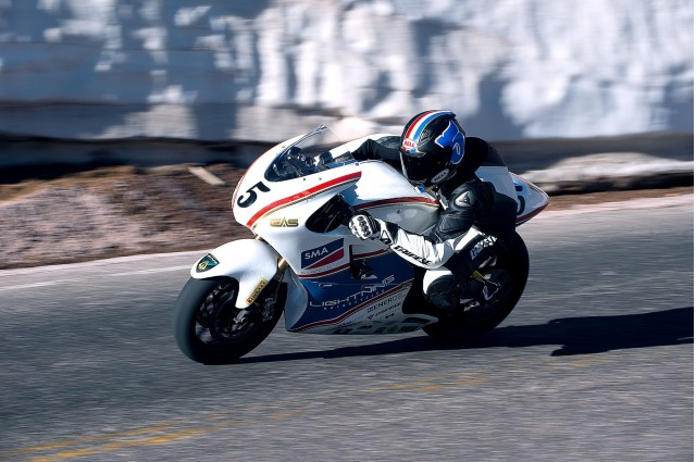 Lightning electric motorcycle racing up Pike's Peak