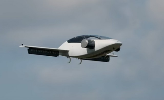 Lilium Eagle electric flying car prototype during maiden test flight on April 20, 2017
