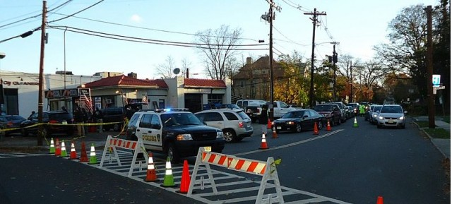 In the aftermath of Hurricane Sandy, the tri-state region experienced long gas lines since there was no power to work the pumps. At this particular station in Summit NJ, only doctors and nurses were allowed to get gas, supervised by local police.