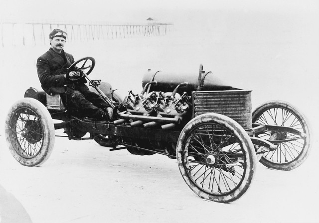 Louis Chevrolet behind the wheel of a Darracq racer, 1906. Image: GM Corp.