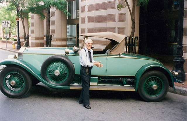 M. Allen Swift with his 1928 Rolls-Royce Phantom I Picadilly Roadster