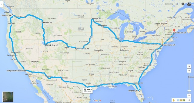 Map of electric motorcycle rider Ben Rich's Summer 2016 'four corners of the U.S.' road trip