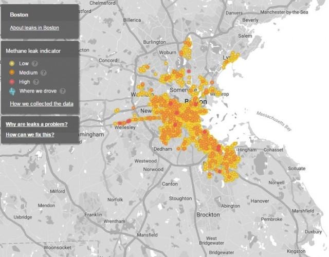 Map of methane leaks in Greater Boston area, published in Environmental Science & Technology.