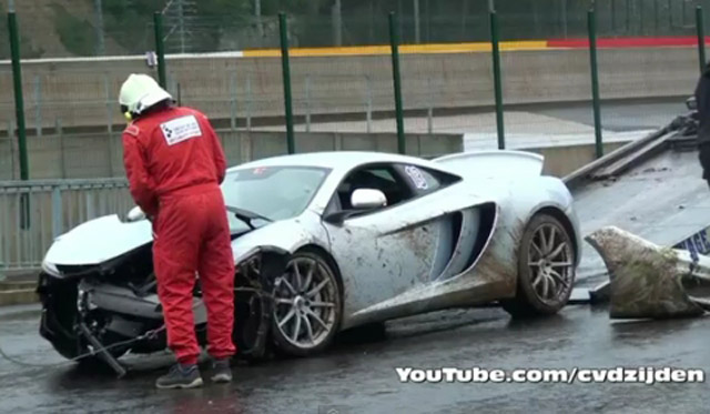 McLaren MP4-12C crashes at Spa Francorchamps